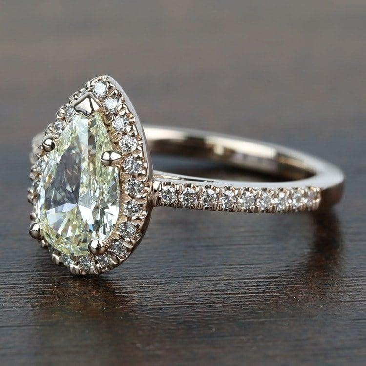 Floating 1.51 Pear Halo Diamond Engagement Ring angle 2
