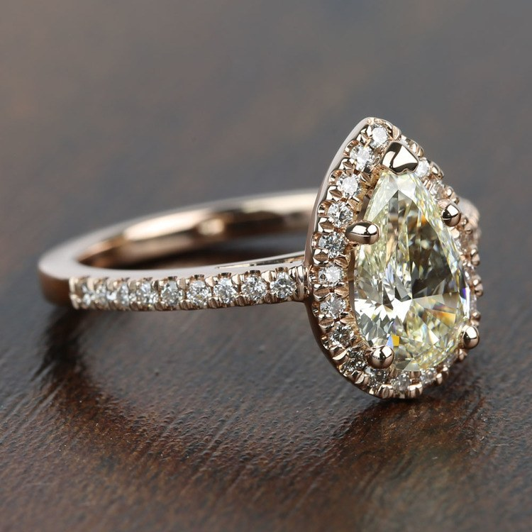 Floating 1.51 Pear Halo Diamond Engagement Ring angle 3