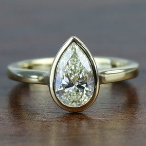 Floating Bezel 1.71 Carat Pear Diamond in Solitaire Engagement Ring