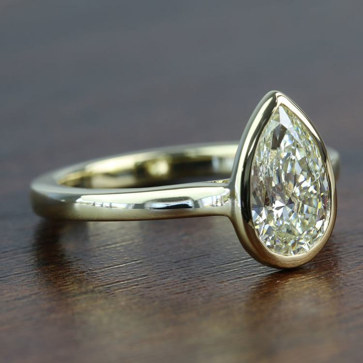 Floating Bezel 1.71 Carat Pear Diamond in Solitaire Engagement Ring angle 3