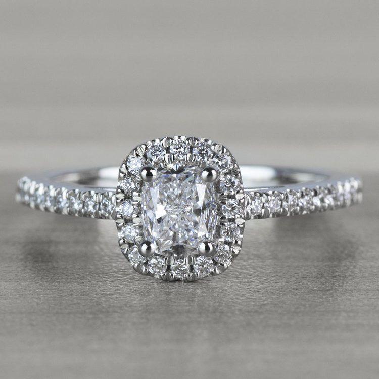 Floating Halo Cushion Cut Diamond Engagement Ring