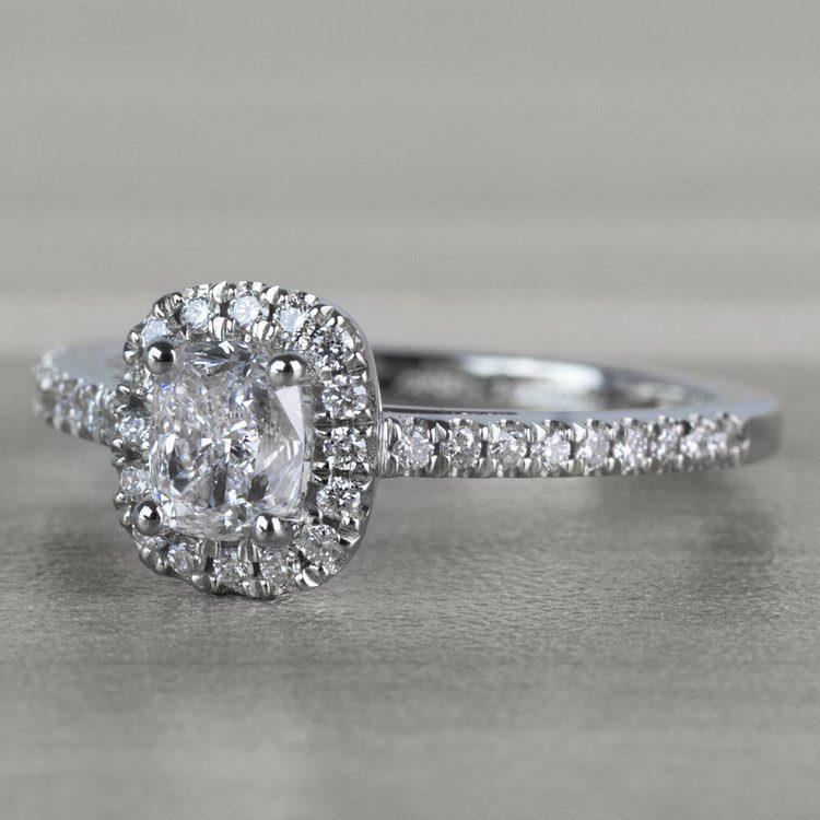Floating Halo Cushion Cut Diamond Engagement Ring angle 2