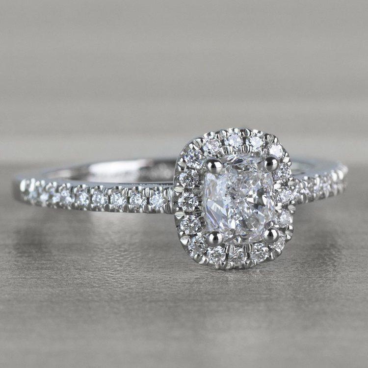 Floating Halo Cushion Cut Diamond Engagement Ring angle 3