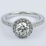 Floating Halo Diamond Engagement Ring in Platinum (0.92 ct.) - small
