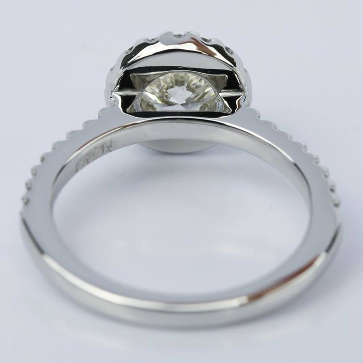 Floating Halo Diamond Engagement Ring in Platinum (0.92 ct.) angle 4