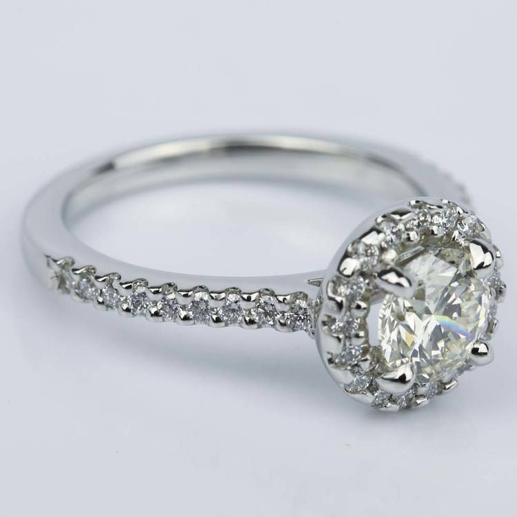 Floating Halo Diamond Engagement Ring in Platinum (0.92 ct.) angle 3