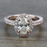 Floating Oval Diamond Halo Engagement Ring (0.80 Carat) - small