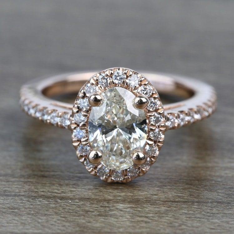 Floating Oval Diamond Halo Engagement Ring (0.80 Carat)