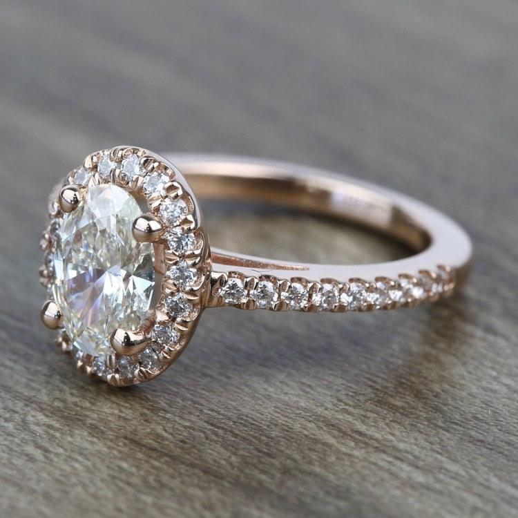 Floating Oval Diamond Halo Engagement Ring (0.80 Carat) angle 2