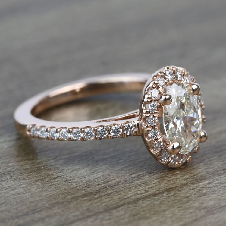 Floating Oval Diamond Halo Engagement Ring (0.80 Carat) angle 3