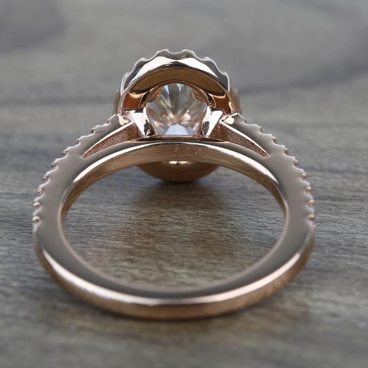 Floating Oval Diamond Halo Engagement Ring (0.80 Carat) angle 4