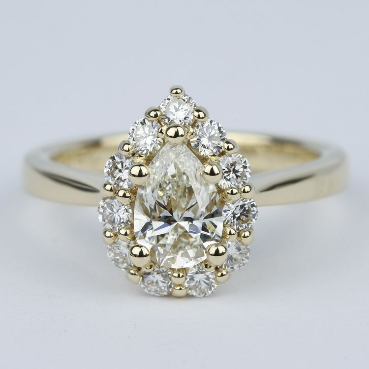 Pear Diamond Engagement Ring with Floral Halo (1.20 Carat)