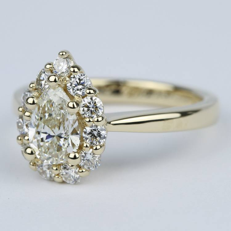 Pear Diamond Engagement Ring with Floral Halo (1.20 Carat) angle 2