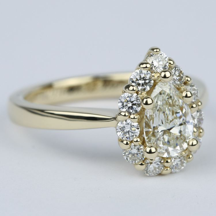 Pear Diamond Engagement Ring with Floral Halo (1.20 Carat) angle 3