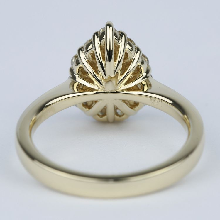 Pear Diamond Engagement Ring with Floral Halo (1.20 Carat) angle 4