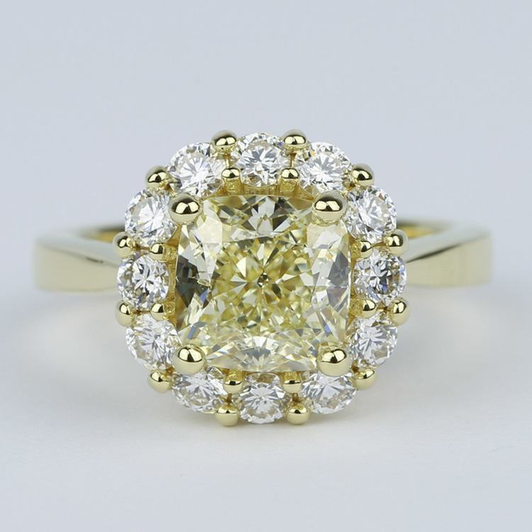 Fancy Yellow Cushion Diamond Engagement Ring with Floral Halo (2.50 Carat)