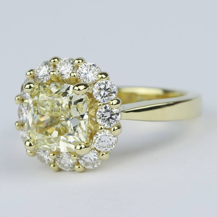 Fancy Yellow Cushion Diamond Engagement Ring with Floral Halo (2.50 Carat) angle 2