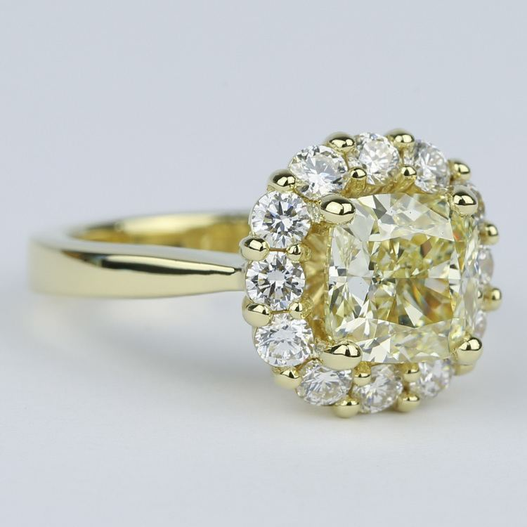 Fancy Yellow Cushion Diamond Engagement Ring with Floral Halo (2.50 Carat) angle 3
