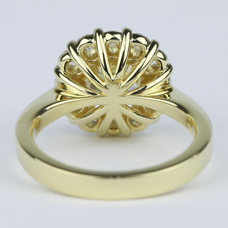 Fancy Yellow Cushion Diamond Engagement Ring with Floral Halo (2.50 Carat) angle 4