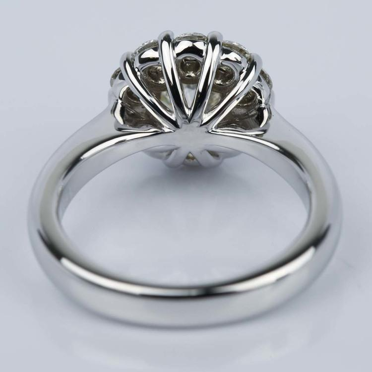 Floral Halo Diamond Engagement Ring in White Gold (1.13 ct.) angle 4