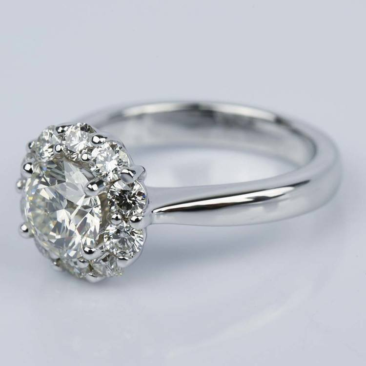 Floral Halo Diamond Engagement Ring in White Gold (1.13 ct.) angle 2