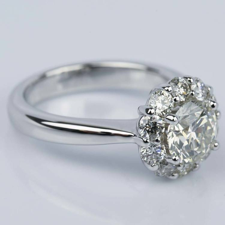 Floral Halo Diamond Engagement Ring in White Gold (1.13 ct.) angle 3