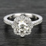 Floral Beaded Halo Diamond Engagement Ring (0.90 ct.) - small