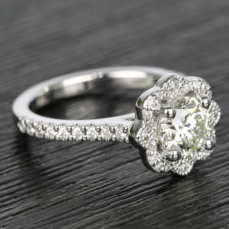 Floral Beaded Halo Diamond Engagement Ring (0.90 ct.) angle 3
