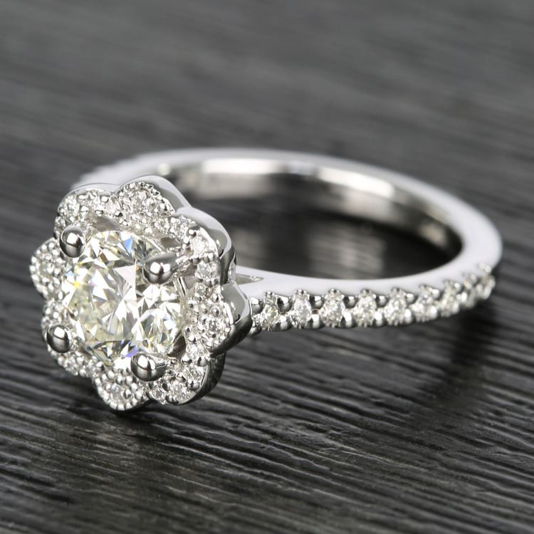 Floral Beaded Halo Diamond Engagement Ring (0.90 ct.) angle 2