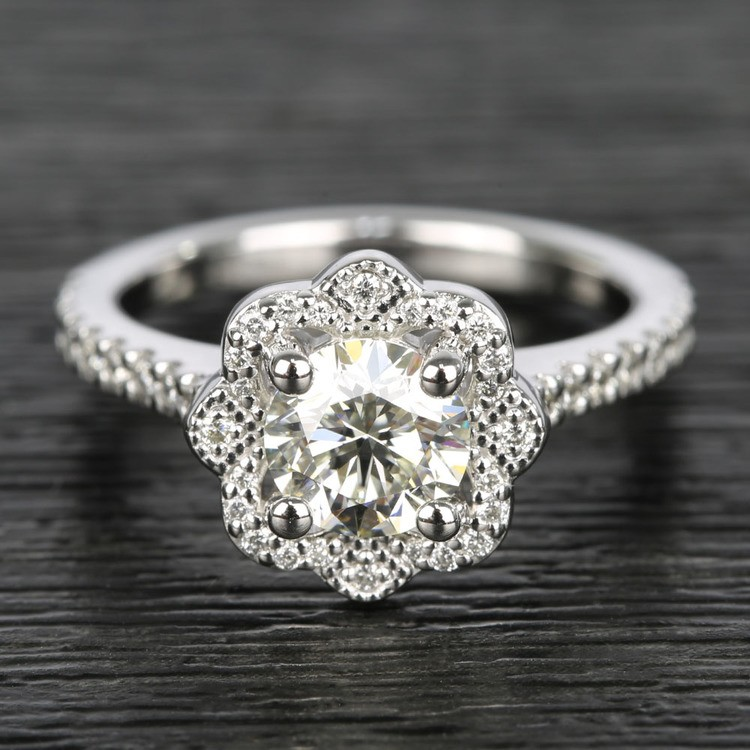 Floral Beaded Halo Diamond Engagement Ring (0.90 ct.)
