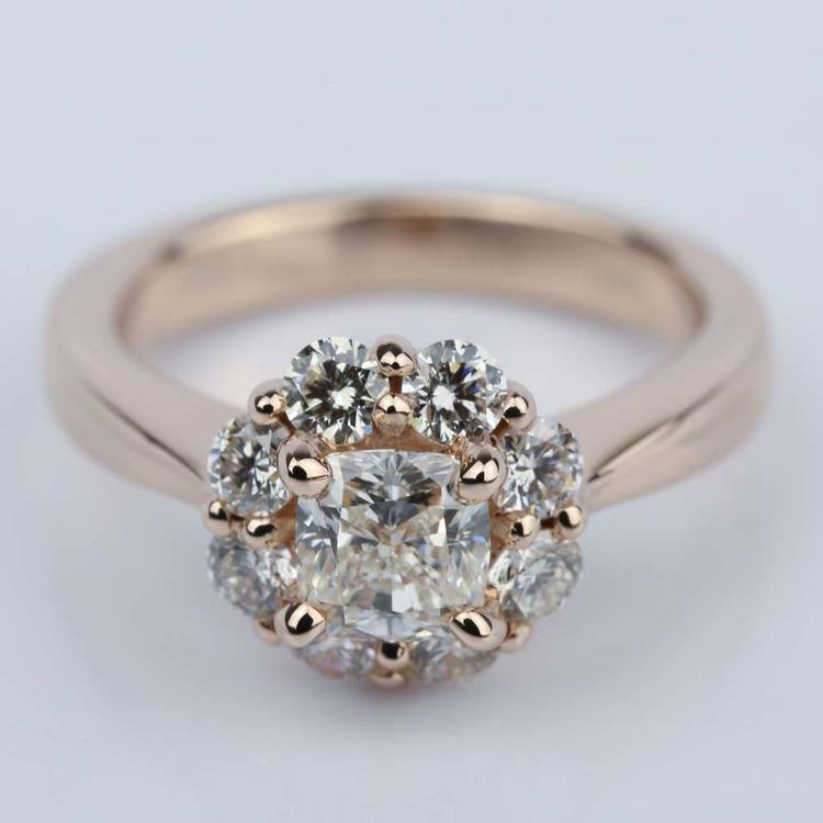 Floral Halo Engagement Ring with Cushion Diamond (0.70 ct.)