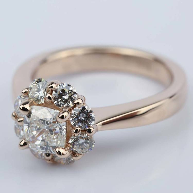 Floral Halo Engagement Ring with Cushion Diamond (0.70 ct.) angle 2