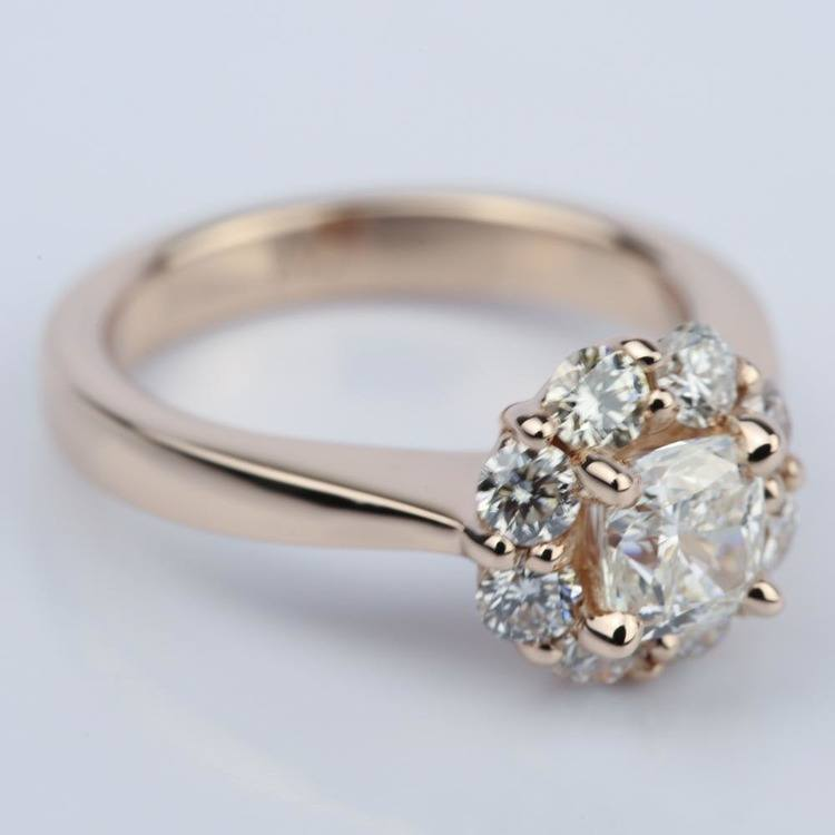 Floral Halo Engagement Ring with Cushion Diamond (0.70 ct.) angle 3