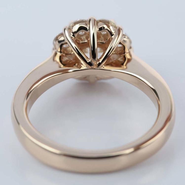 Floral Halo Engagement Ring with Cushion Diamond (0.70 ct.) angle 4
