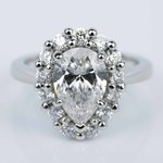 Floral Halo Engagement Ring with Pear Cut Diamond (2.38 ct.) - small