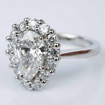 Floral Halo Engagement Ring with Pear Cut Diamond (2.38 ct.) - small angle 2