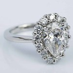Floral Halo Engagement Ring with Pear Cut Diamond (2.38 ct.) - small angle 3