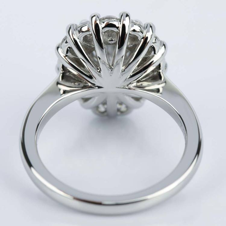 Floral Halo Engagement Ring with Pear Cut Diamond (2.38 ct.) angle 4