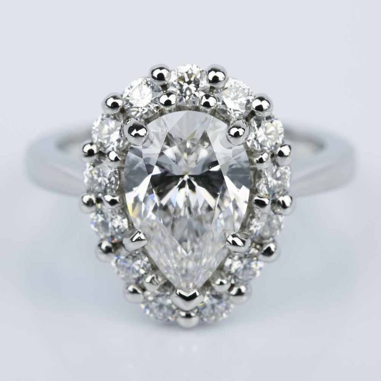 Floral Halo Engagement Ring with Pear Cut Diamond (2.38 ct.)