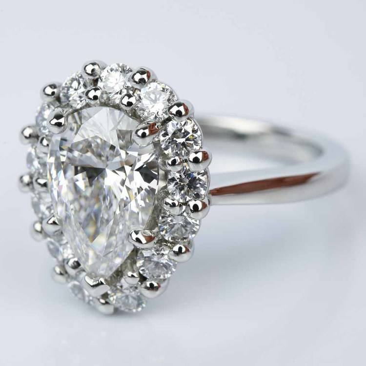 Floral Halo Engagement Ring with Pear Cut Diamond (2.38 ct.) angle 2