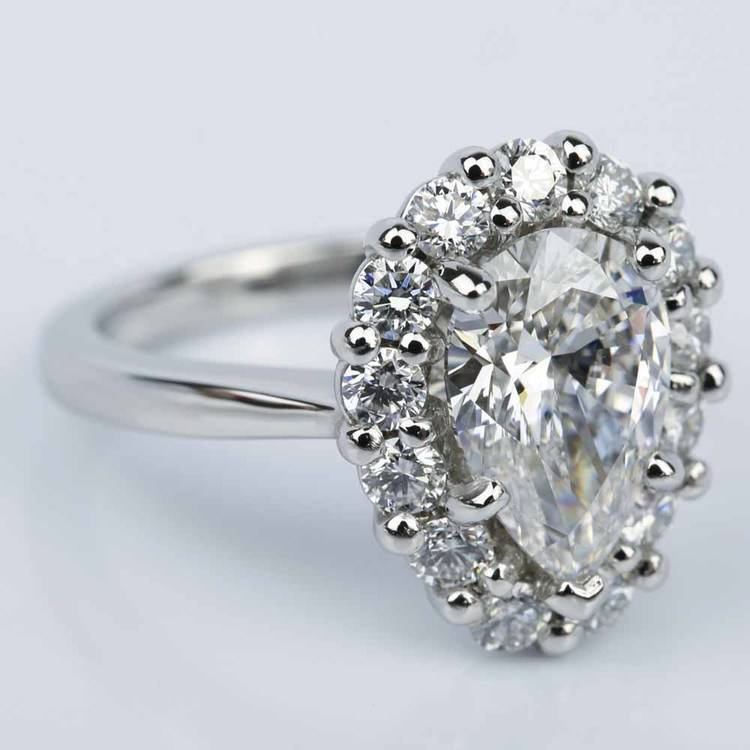 Floral Halo Engagement Ring with Pear Cut Diamond (2.38 ct.) angle 3