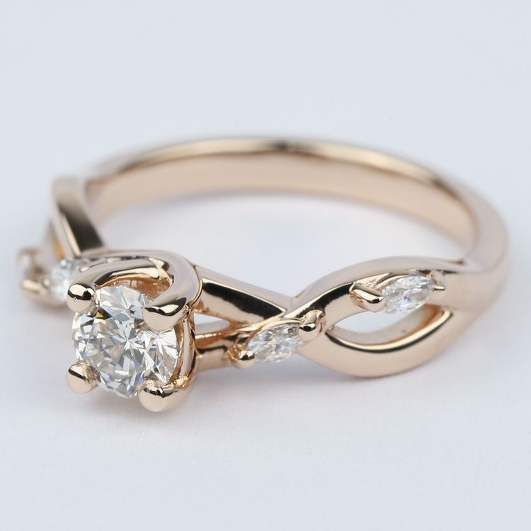 Florida Ivy Diamond Engagement Ring In Rose Gold (0.40 ct.) angle 2