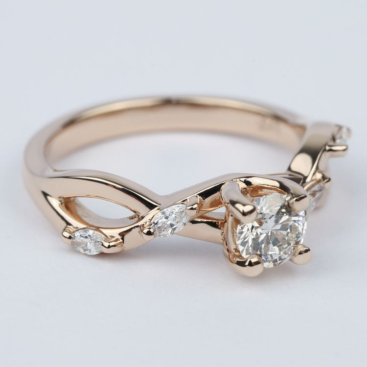 Florida Ivy Diamond Engagement Ring In Rose Gold (0.40 ct.) angle 3