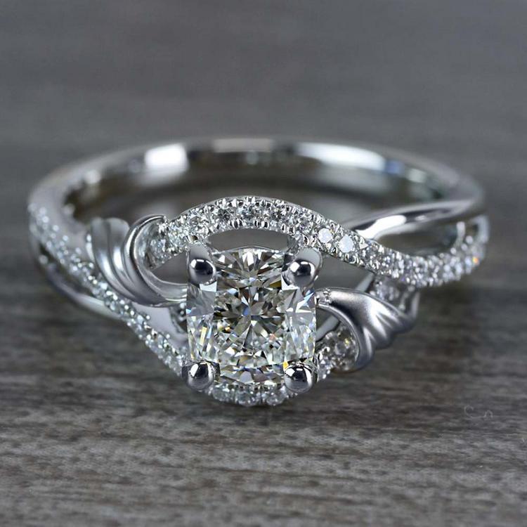Flourishing Cushion Cut Diamond Split Shank Engagement Ring