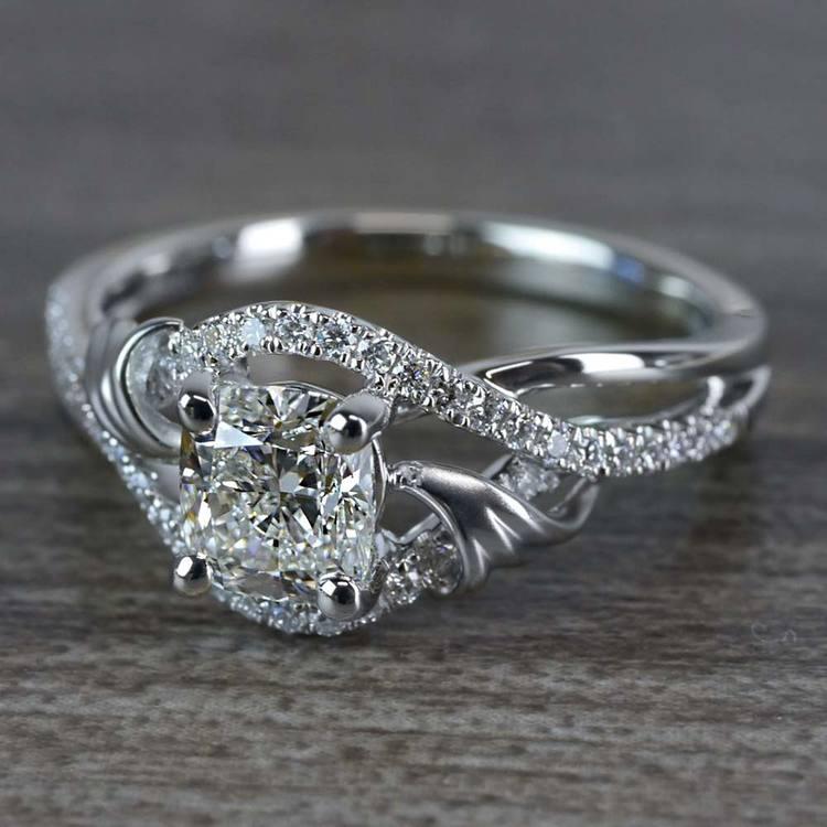 Flourishing Cushion Cut Diamond Split Shank Engagement Ring angle 2