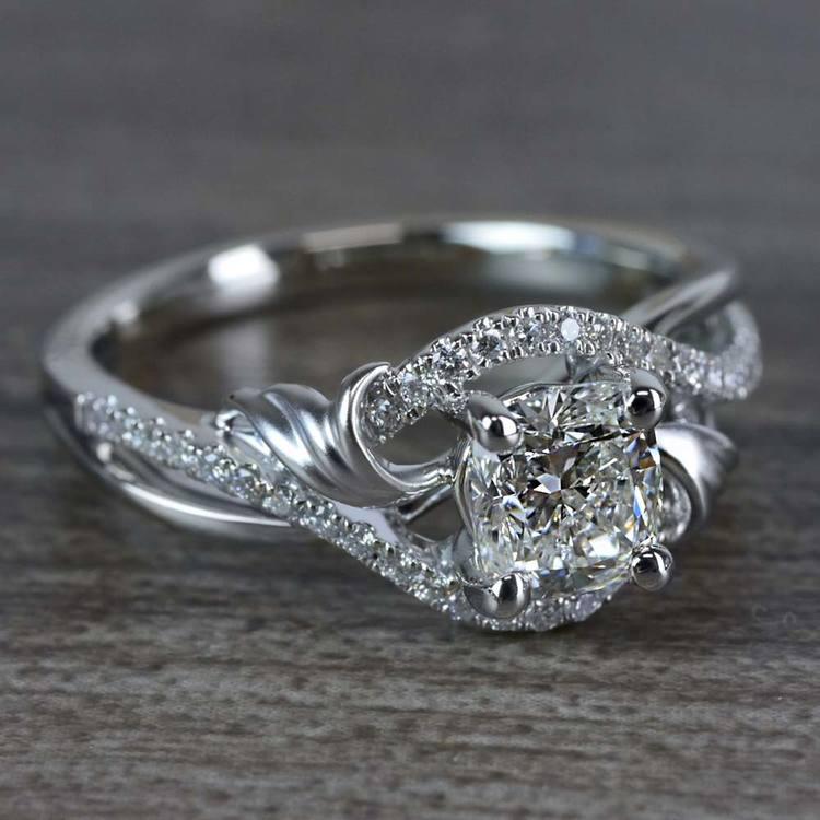 Flourishing Cushion Cut Diamond Split Shank Engagement Ring angle 3