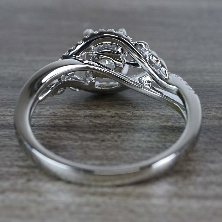 Flourishing Cushion Cut Diamond Split Shank Engagement Ring angle 4