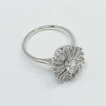 Oval Diamond Art Deco Flower Engagement Ring (0.57 Carat) - small angle 3