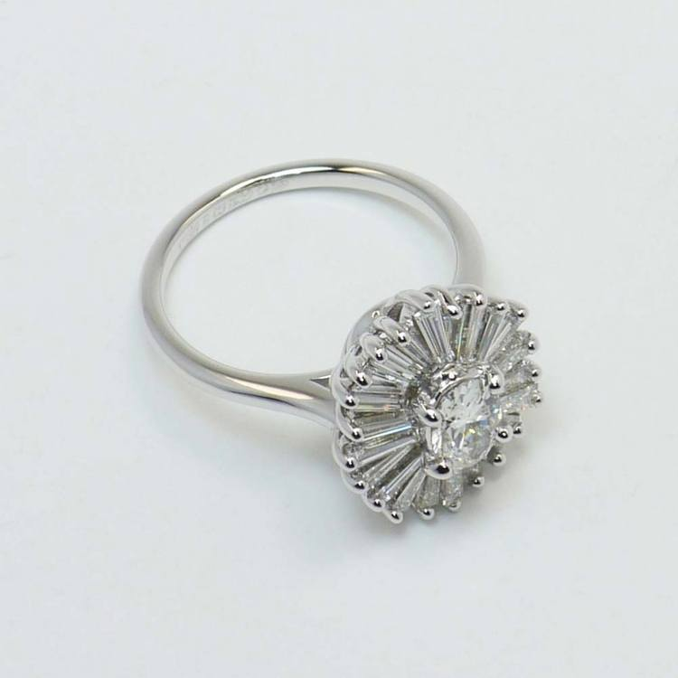 Oval Diamond Art Deco Flower Engagement Ring (0.57 Carat) angle 3