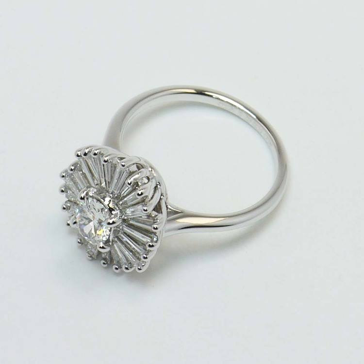 Oval Diamond Art Deco Flower Engagement Ring (0.57 Carat) angle 4